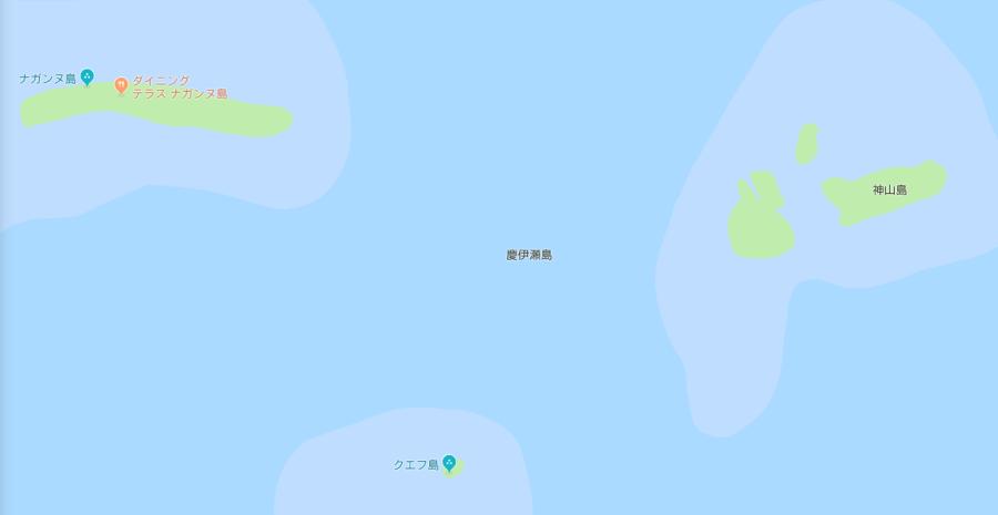 クエフ島の地図
